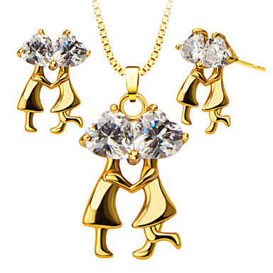 Buy Couples Dance Crystal Pendants Necklace Earrings Jewelry Set Women 18K Gold Plated Fashion S20123
