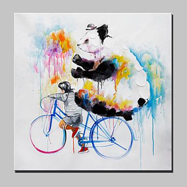 Grote hand beschilderd doek olieverf moderne abstracte dier jongen en panda met gestrekte frame - Hang een doek ...