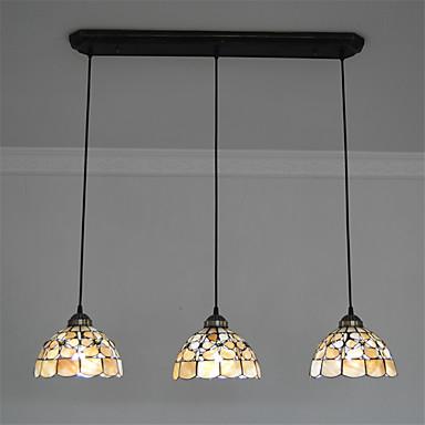 8 inch 3 lights retro tiffany pendant lights shell shade living room dining r. Black Bedroom Furniture Sets. Home Design Ideas