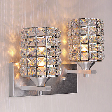Living Room Crystal Wall Sconces : hot Modern Simplicity Crystal Wall Lights Living Room / Bedroom / Hallway light Fixture 2-lights ...