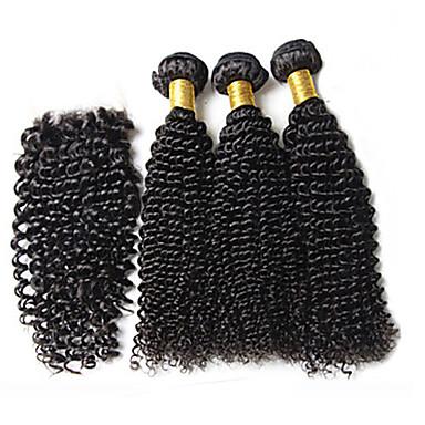 Buy Lot Brazilian Virgin Hair #1b Kinky Curly Lace Closure Human Deep Wave