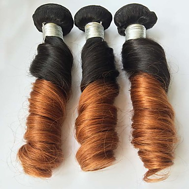 Buy 3 Pcs/Lot 12 inch-24 inch Brazilian Spring Curly Ombre Virgin Hair Color 1b/30 Unprocessed Human Weaves