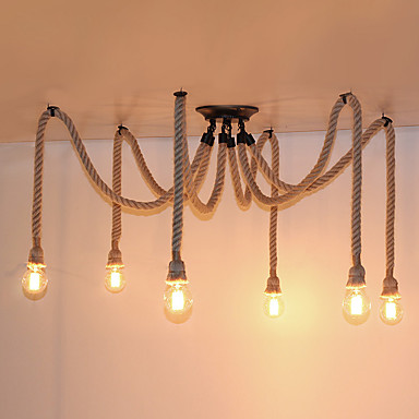 6 heads american country retro industrial hemp rope chandelier living room restaurant pendant. Black Bedroom Furniture Sets. Home Design Ideas