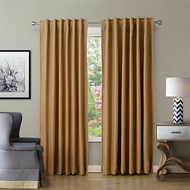 Solid Thermal Insulated Blackout Curtain Drape Back Tab Rod Pocket Burgundy Wheat Navy