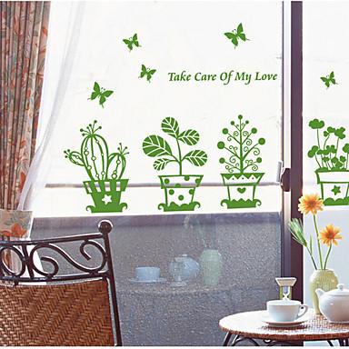 Green Bonsai Flowers With Butterfly Wall Sticker Coffee