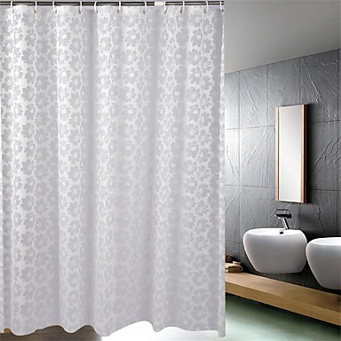 Shower Curtain Baroque Style Gray Flower Print Thick Fabric Water Resistant W71 X L78 903882