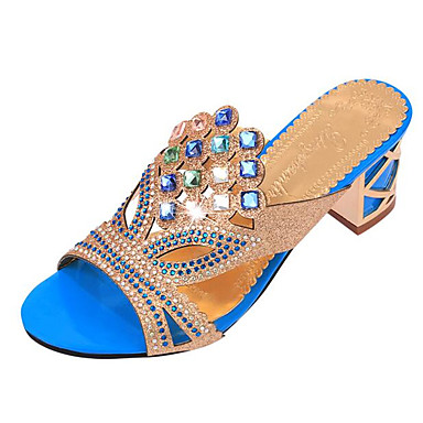 Women's Summer Leatherette Outdoor Casual Chunky Heel Crystal Black Blue Gold
