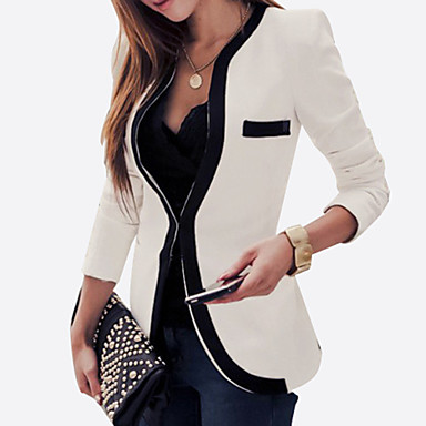 Women's Plus Size All Seasons Blazer,Color Block Long Sleeve White / Black Rayon / Polyester Medium