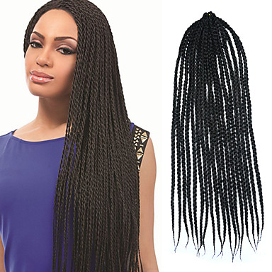 Crochet Braids Medium Box Braids : Black Senegal Crochet Twist Medium Box Braid 24 Kanekalon 3 Strand ...
