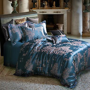 fleur ensembles housse de couette 4 pi ces m lange soie coton luxe jacquard m lange soie coton. Black Bedroom Furniture Sets. Home Design Ideas