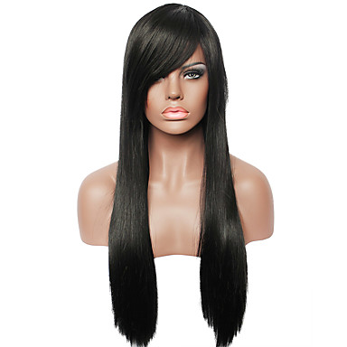 capless natural black color long straight fashion real