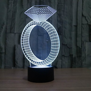 Buy Amazing 3D Illusion Table Lamp Night Light Diamond Ring Shape 7 Color