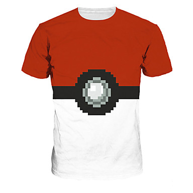 Buy 3D T-shirt Pocket Little Monster Geometric Print Cosplay Costumes Geeky Clothing Round Neck Short Sleeves Male/Female