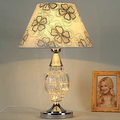 Modern traditional single head glass with metal table lamp - Traditional table lamps for bedroom ...