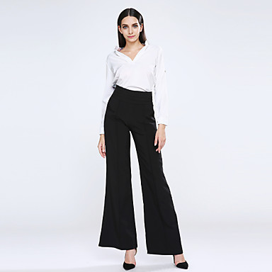 Women's Zipper Loose High Waist Flare Wide Leg Pants Plus Size Black