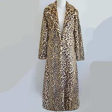 Women's Plus Size /Daily Sophisticated Fur Coat Leopard Peaked Lapel Long Sleeve Fall / Winter Yellow Faux Fur Thick