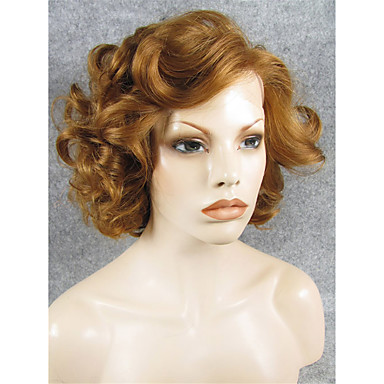 imstyle 10brown big curly short hair synthetic lace front