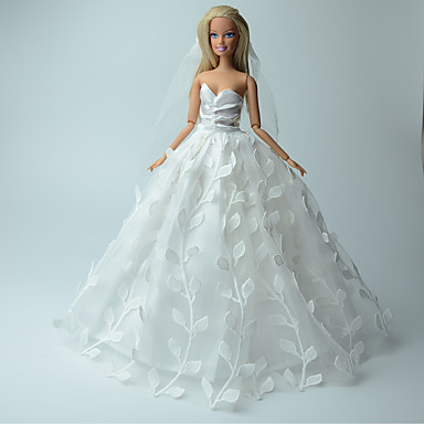 Wedding dresses for barbie doll white solid print for Barbie wedding dresses for sale