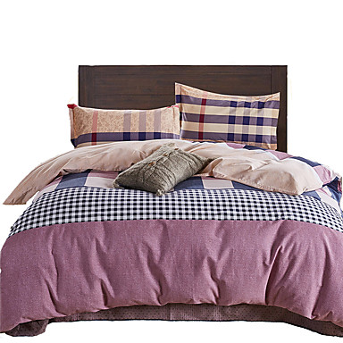 a carreaux ensembles housse de couette 4 pi ces coton moderne matelass coton lit 2 places. Black Bedroom Furniture Sets. Home Design Ideas