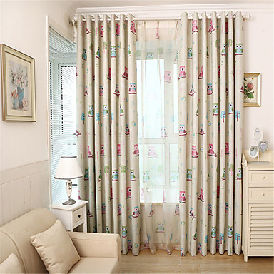 One Panel Curtain Country Mediterranean Animal Living Room Material Black