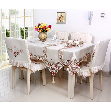 Square Embroidered Floral Table Cloth Blend Material Hotel Dining Table W