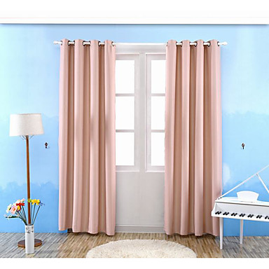 One Panel Curtain Modern Solid Living Room Poly Cotton Blend Material Bla