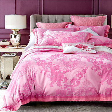 ensembles housse de couette fleur 4 pi ces m lange soie coton jacquard m lange soie coton 1. Black Bedroom Furniture Sets. Home Design Ideas