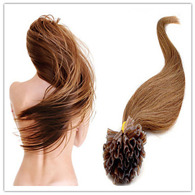 Brazilian Virgin Human Keratin Hair Extension Pre-Bonded Nail Hair U Tip Hair 18