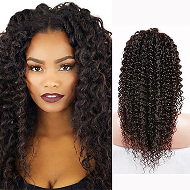Buy Best Selling Human Hair Kinky Curly Lace Front Wigs #1b Middle Part Black Women