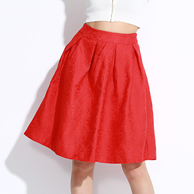 Women's A Line Solid Ruffle Skirts,Casual/Daily Vintage High Rise Midi Zipper Polyester Micro-elastic Fall Winter Spring