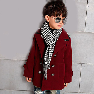 Boy's Cotton Winter Long Sleeve Double-Breasted Splice Pu Wool Coats Coat.