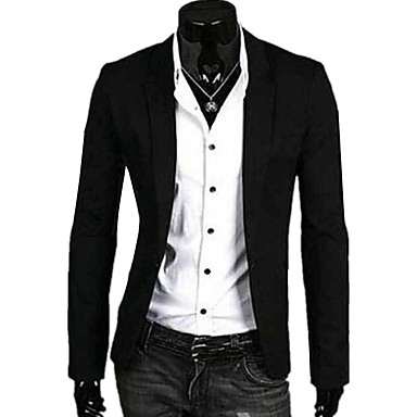 Men's Casual/Daily Simple Spring Fall Blazer,Solid Long Sleeve Regular Linen