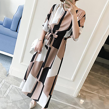 Women's Plus Size Casual/Daily Work Vintage Simple Cute Shift Dress,Geometric Round Neck Maxi Knee-length Short Sleeve Others SummerMid
