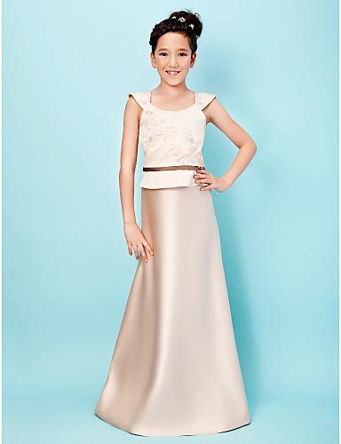 Buy Lanting Bride® Floor-length Satin Junior Bridesmaid Dress A-line / Princess Scoop Natural Appliques Sash Ribbon