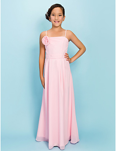 Buy Floor-length Chiffon Junior Bridesmaid Dress Sheath / Column Spaghetti Straps Natural Draping Flower(s) Sash Ribbon