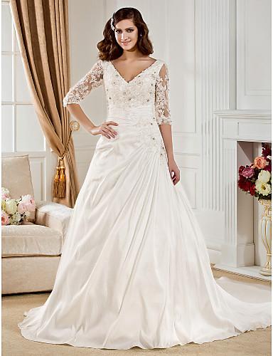 Buy Lanting Bride Ball Gown Petite / Plus Sizes Wedding Dress-Chapel Train V-neck Taffeta