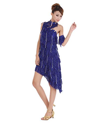 prestazioni poliestere dancewear con paillettes e nappe vestito da ...