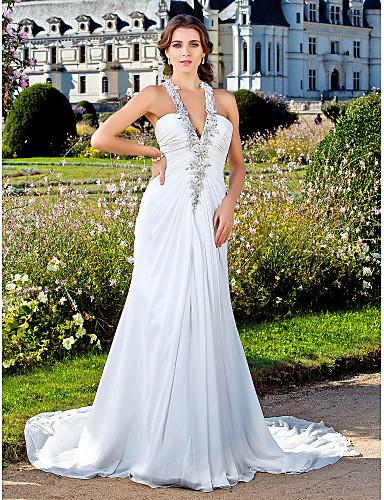 Buy Lanting Sheath/Column Plus Sizes Wedding Dress - Ivory Court Train V-neck Chiffon