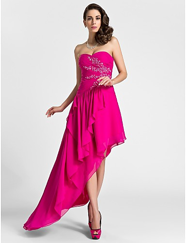 Buy TS Couture® Cocktail Party / Formal Evening Dress - High Low Plus Size Petite A-line Sweetheart Knee-length Asymmetrical Chiffon Appliques