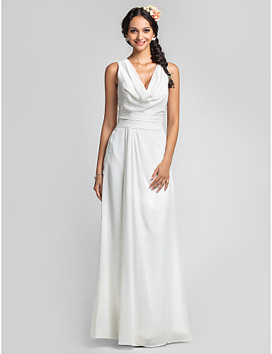 Lanting bride floor length chiffon bridesmaid dress for Plus size sheath wedding dress
