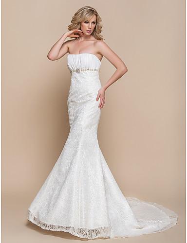Trumpet / Mermaid Wedding Dress - Elegant & Luxurious / Glamorous ...