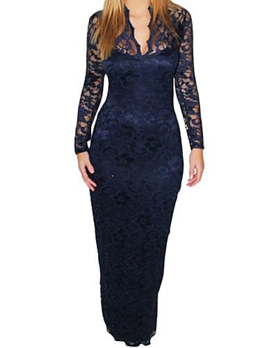 Женская B шеи Встроенная кружевном платье