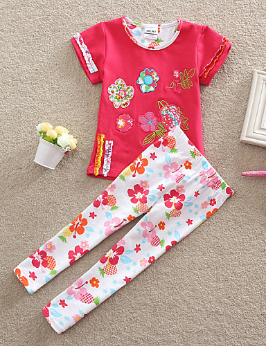 Buy O-rnoch girl's summer Fashion flower embroidery short sleeve T-shirt + printing pants Clothing sets (Cotton)