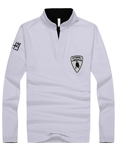 Buy Men's Casual T-Shirt,Cotton Long Sleeve-Blue / White Gray
