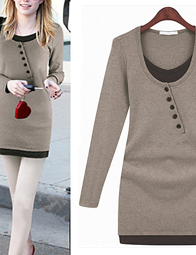 Buy X.N.R Women's Solid Color Black / Brown Gray Dresses , Sexy Casual Work Round Long Sleeve