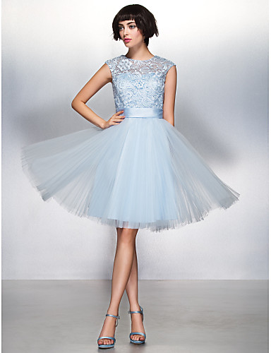 Buy TS Couture® Cocktail Party Dress - Beautiful Back A-line Jewel Knee-length Lace / Tulle