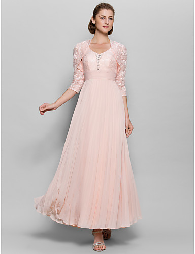 Buy A-line Mother Bride Dress Ankle-length 3/4 Length Sleeve Chiffon / Lace Ruching Sequins