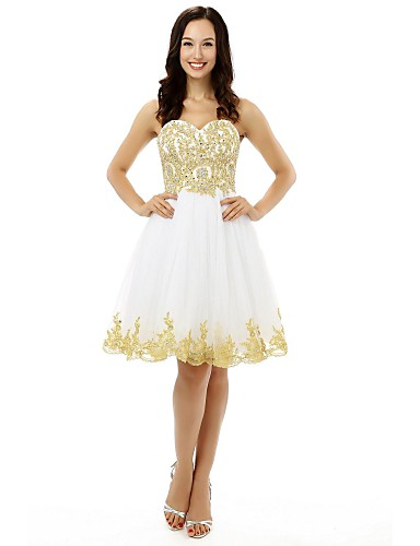 Buy Cocktail Party Dress A-line Sweetheart Knee-length Tulle Appliques / Beading Crystal Detailing Sequins