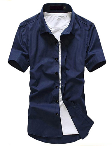 Men 39 s solid casual work shirt cotton short sleeve black for Blue cotton work shirts