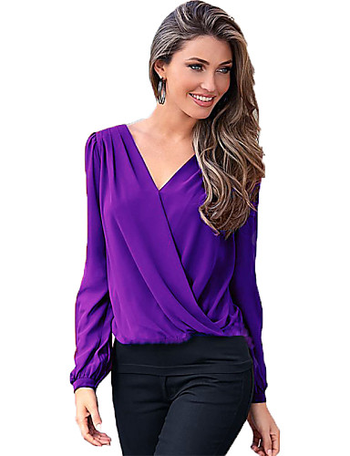 Women 39 S Casual Daily Sexy Summer T Shirt Solid V Neck Long